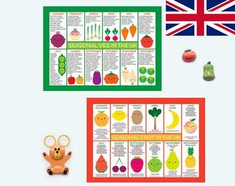 UK Seasonal Food Charts / Magnets - Kawaii Fruit & Vegetables