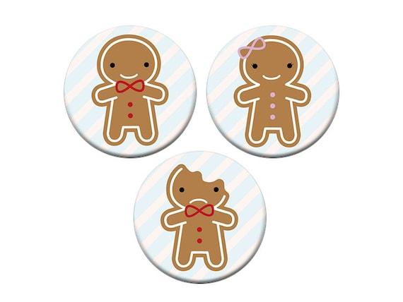 Kawaii Christmas Gingerbread Man Badges