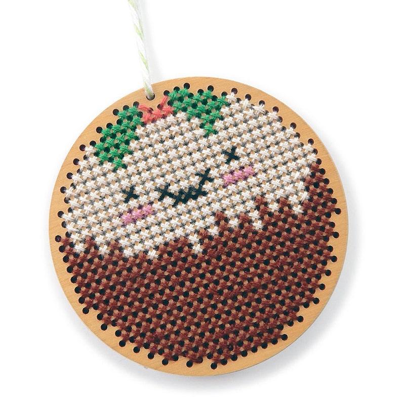 Christmas Pudding Ornament  Kawaii Cross Stitch Pattern  PDF image 0
