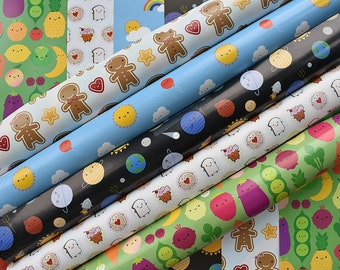 Pick and Mix Kawaii Gift Wrap - Choose any 5 sheets of wrapping paper - 5 kawaii designs for space, food, Christmas, birthday, new baby