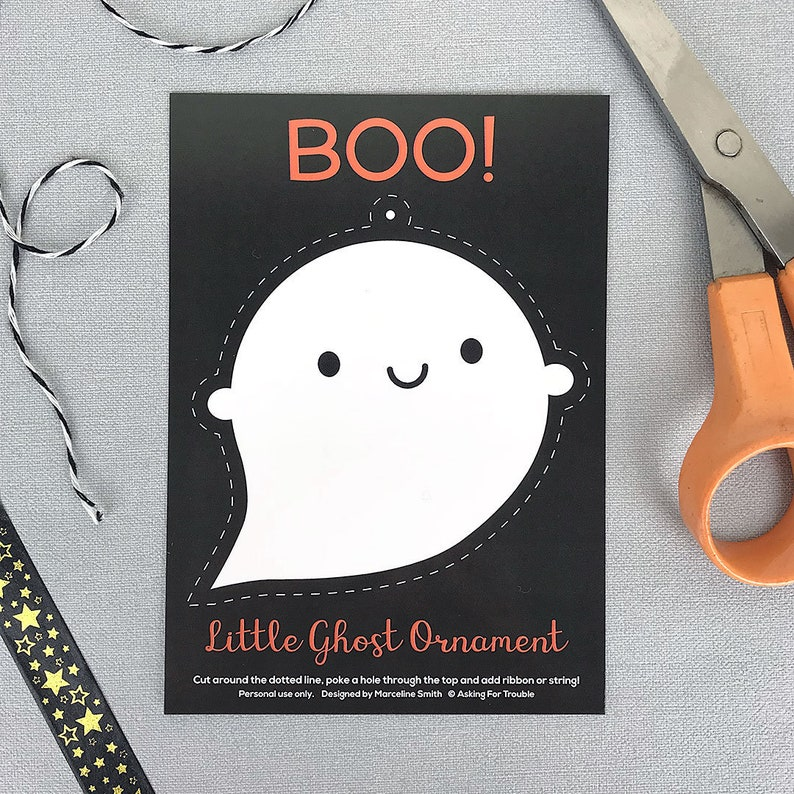 Kawaii Ghost Ornament Postcard Halloween Decorations Etsy