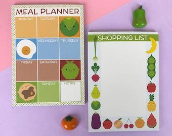 Kawaii Meal Planner & Shopping List - Set of 2 Magnetic Fridge Pads