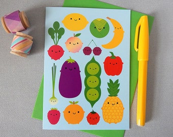 Kawaii Fruit & Vegetables Card - 5 A Day - For Cooks, Chefs, Foodies, Gardeners - Vegetarian, Vegan