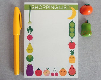 Magnetic Shopping List Notepad For Groceries - 5 A Day Kawaii Fruit & Vegetables - Fridge Pad - Vegan Vegetarian Gift - Healthy Eating, Diet