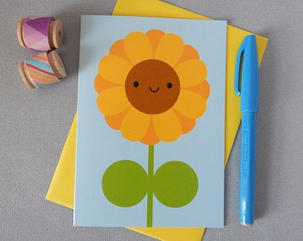 Happy Sunflower Card - Kawaii Card - Summer Flowers - Springtime - For Mother's Day, Gardeners, Nature Lovers, Congratulations