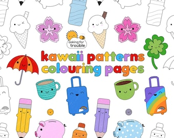Kawaii Patterns Colouring Pages