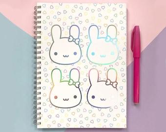Bunny Bows Kawaii Rainbow Foil Notebook