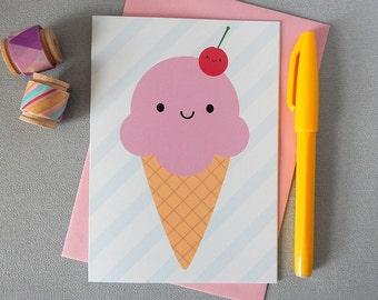 Kawaii Ice Cream Card - Summer Holiday Vacation - Pink, Cherry, Strawberry, Ice Cream Cone