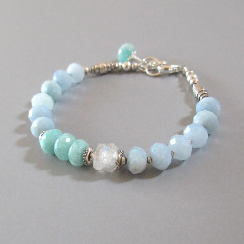Aquamarine Amazonite Rainbow Moonstone Bracelet Sterling Silver Bead Chatoyant Gemstone DJStrang Blue Green Boho Bridal Wedding Bride