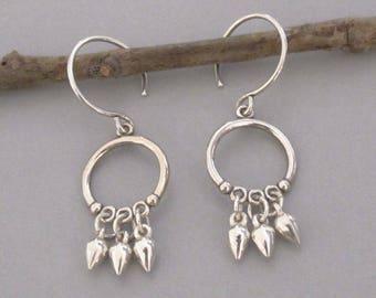 Tiny Sterling Silver Drop Circle Earrings Dangle DJStrang Boho
