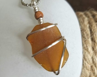 Lake Michigan Beach Glass Wire Wrapped Necklace Amber Brown Sea Glass Pendant