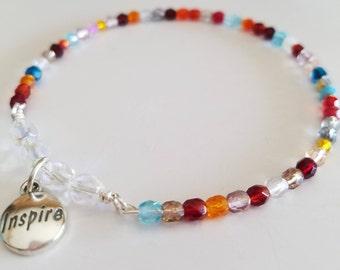 Czech Beaded Sterling Silver Inspire Charm Bangle Bracelet