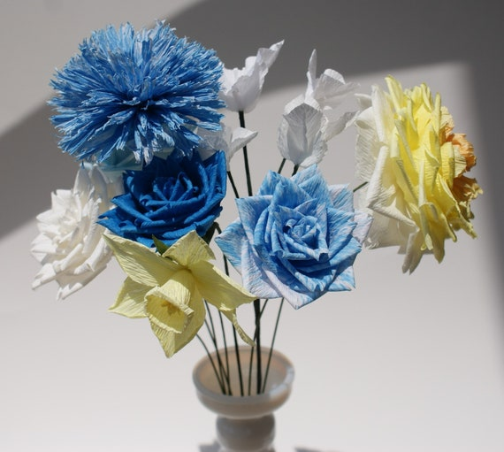 Midday Blue Sky And Sunshine Crepe Paper Flower Bouquet In Etsy