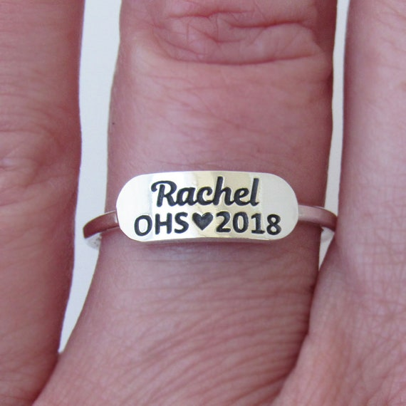 Personalized Class Ring Name Ring High School Ring Etsy
