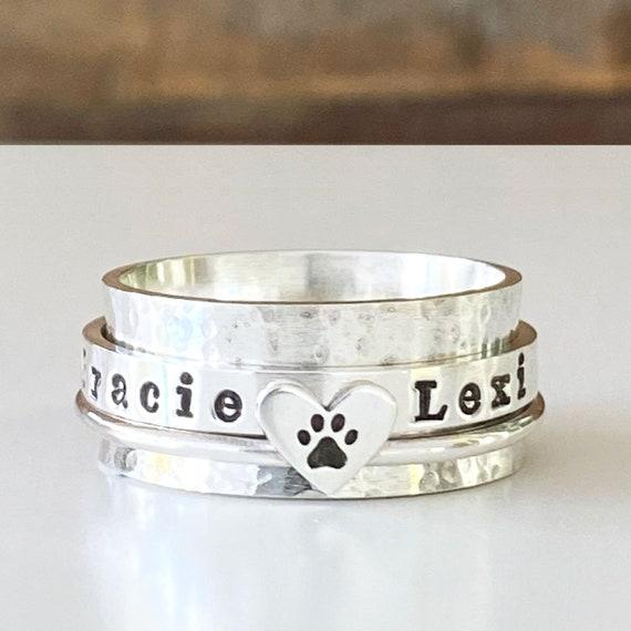 Paw Print Ring  Pet Memorial Ring   Personalized Ring  Pet Memorial Jewelry  Custom Stacking Ring Engraved Ring