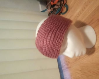Hand Knit HEADWARMER Mauve Adult... Ready to ship