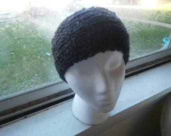 Hand Knit HEADWARMER Charcoal/ Dark Grey Adult... Ready to ship