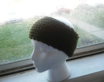 Hand Knit HEADWARMER Dark Olive Green Adult... Ready to ship
