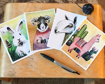 Fiber Animals art card collection