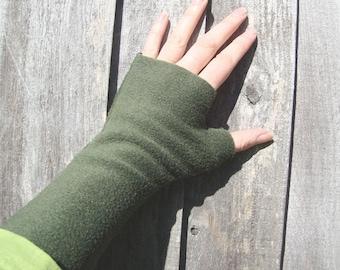 Wrist Warmers, OLIVE,soft, washable fleece