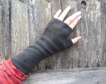 Wrist Warmers, fingerless gloves, BLACK, soft, washable fleece