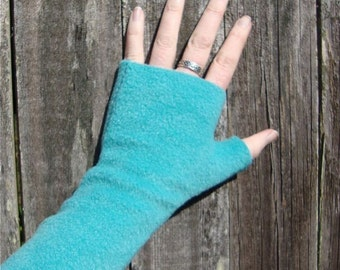 NEW color Wrist Warmers, Lagoon, soft, washable fleece