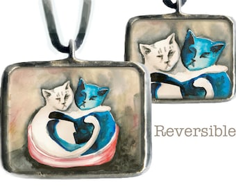 Love Cats the perfect love token for people who adore cats, glass pendant, original art, valentine's day