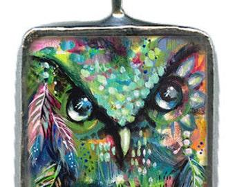 Green Abundance Owl, soldered glass pendant, original art