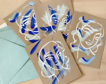 Set of 4 Blue + Aqua Hand-Painted Notecards
