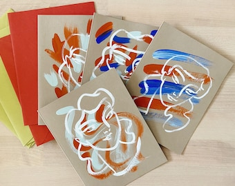 Set of 4 Orange + Blue Hand-painted Notecards