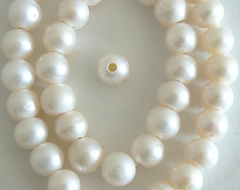 20-22 mm LargeHole JumboPearl White /& Silver CoinPearlBeads HoleSize 2.1mm #740