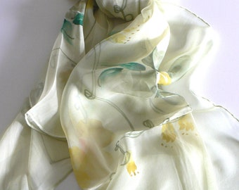 dd2016b5b3e5a Blooming Flower Oblong 100% Silk Scarf Handmade Hand Painted Gift Holiday  Christmas Birthday Annuversary Wedding Gifts Woman Girl