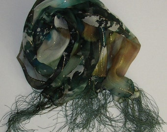 Forest Silk Scarf Handmade Oblong