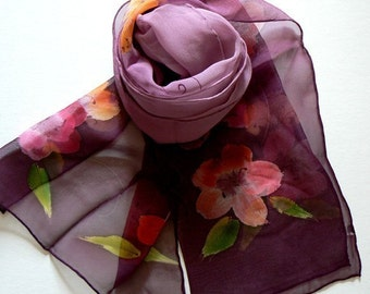 Hand Made Oblong Silk Scarf Floral