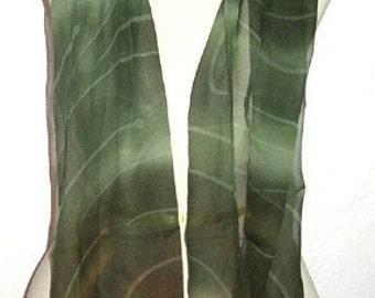 Handmade Oblong Silk Scarf Green