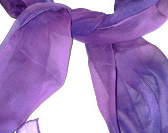 Purples Handmade Silk Scarf Oblong Hand Colored Hand Paint Hand Dye