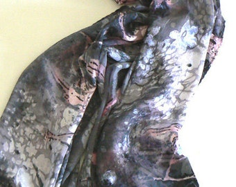 Burnt Out Handmade Silk Scarf Hand Painted Bright Colorful Pink Gray