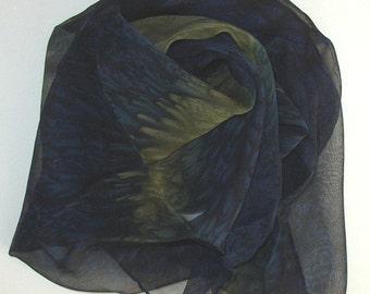 Midnight Silk Scarf Handmade Oblong
