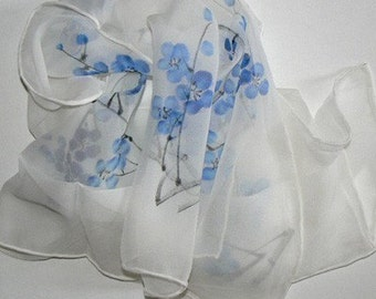 Cherry Blossom Oblong Silk Scarf Hand Painted Handmade