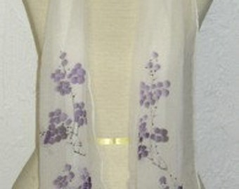 Oblong Silk Scarf Hand Painted Purple Cherry