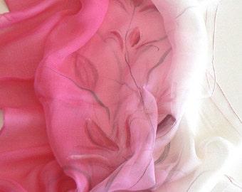 Original Hand Painted Silk Scarf Wrap Garden Flower Pink