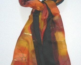 Rich Autumn Oblong Silk Scarf Gold Thread