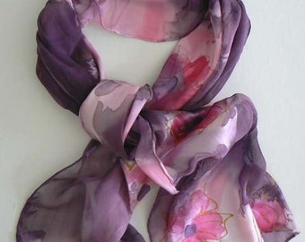Burnt Out Silk Scarf Handmade Painted