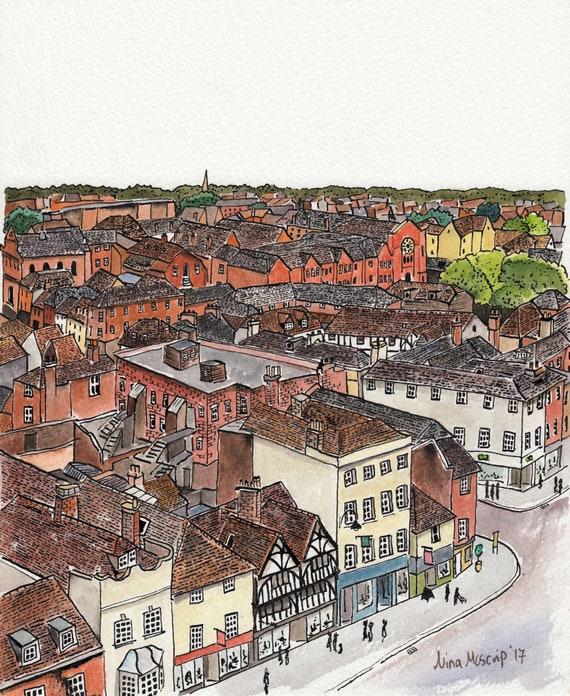 original art Salisbury original painting skyline architecture England Wiltshire