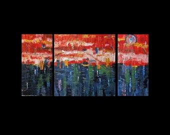 Original Art, Copper Painting, Triptych, Modern, Contemporary, Karina Keri-Matuszak, Trending Now, Unique Home Decor, Abstract Landscape