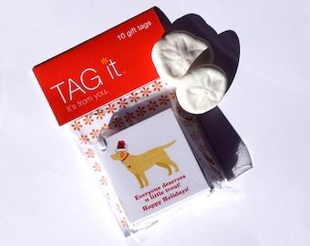 Yellow Labrador with Santa Hat Gift Tags