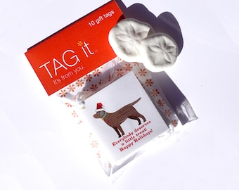 Chocolate Labrador with Santa Hat Gift Tags