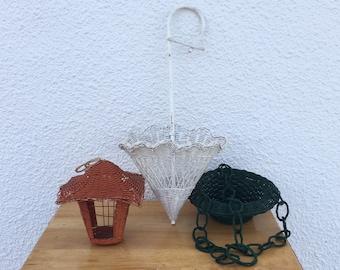 LOT of 3 Vintage 1970s Bohemian Wicker Hanging Basket Planters Parasol Umbrella Lantern FREE SHIPPING