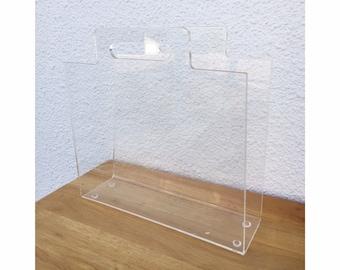 Vintage Magazine Rack Holder Lucite Acrylic Plexiglass FREE SHIPPING