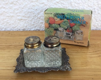 Vintage Silver Plated Glass Salt & Pepper Shakers with plate FREE SHIPPING